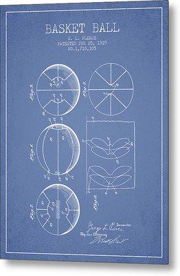1929 Basket Ball Patent - Light Blue Metal Print by Aged Pixel