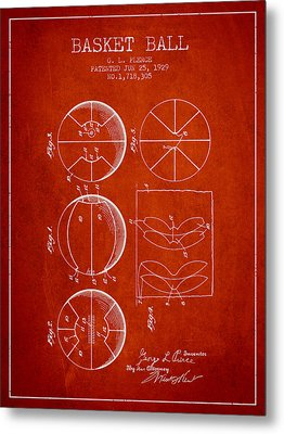 1929 Basket Ball Patent - Red Metal Print