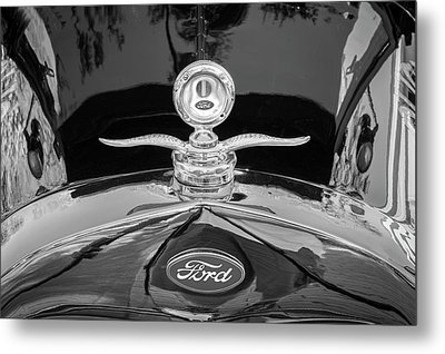 Metal Print featuring the photograph 1929 Ford Model A Hood Ornament Bw by Rich Franco