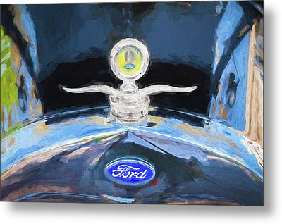 Metal Print featuring the photograph 1929 Ford Model A Hood Ornament Painted by Rich Franco