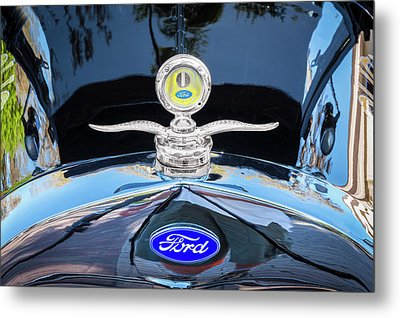 Metal Print featuring the photograph 1929 Ford Model A Hood Ornament  by Rich Franco