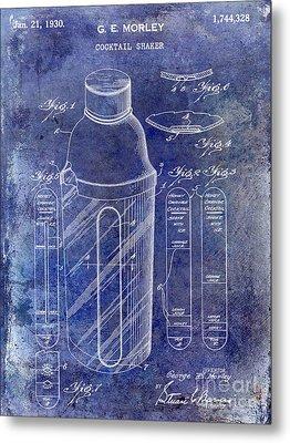 1930 Cocktail Shaker Patent Blue Metal Print by Jon Neidert