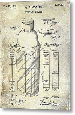 1930 Cocktail Shaker Patent Metal Print by Jon Neidert