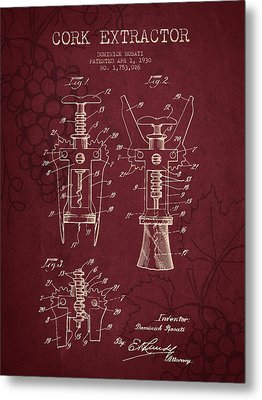 1930 Cork Extractor Patent - Red Wine Metal Print by Aged Pixel