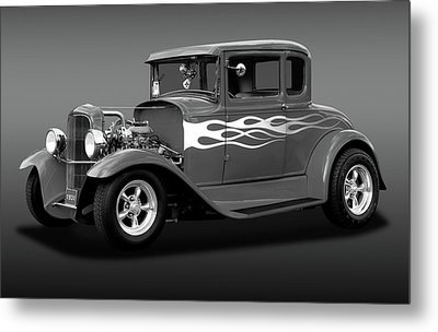 Metal Print featuring the photograph 1931 Ford Model A 5 Window Coupe  -  1931ford5winmdlacpebw172189 by Frank J Benz