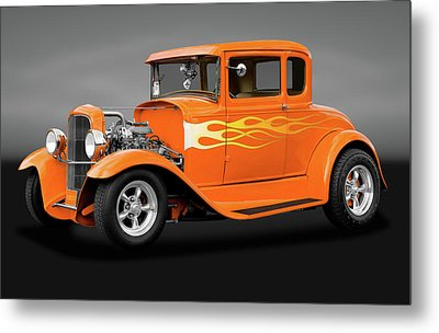 Metal Print featuring the photograph 1931 Ford Model A 5 Window Coupe  -  1931modelafordgry172189 by Frank J Benz