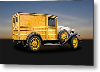 1931 Ford Natural Wood Special Delivery Woodie Model A  -  31fdtrkwd500 Metal Print by Frank J Benz