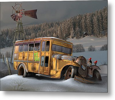 1931 Ford School Bus Metal Print by Stuart Swartz