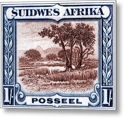 Metal Print featuring the painting 1931 South West African Landscape Stamp by Historic Image