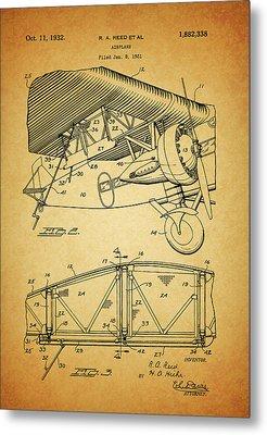 1932 Airplane Patent Metal Print