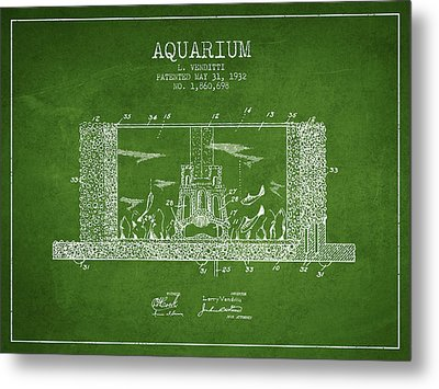 1932 Aquarium Patent - Green Metal Print