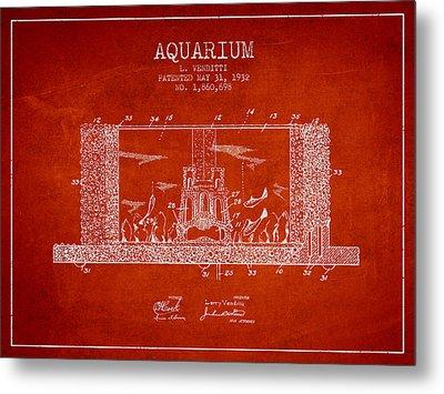 1932 Aquarium Patent - Red Metal Print