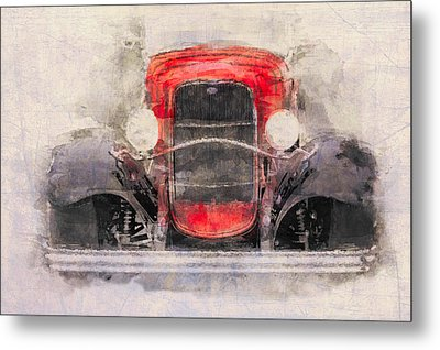 1932 Ford Roadster Red And Black Metal Print