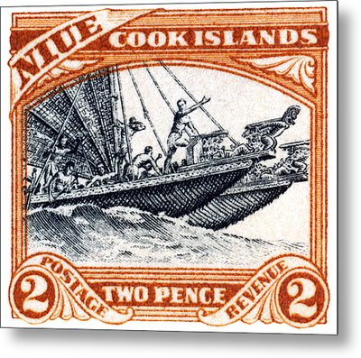 Metal Print featuring the painting 1932 Niue Island Stamp by Historic Image