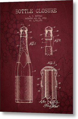 1933 Bottle Closure Patent - Red Wine Metal Print by Aged Pixel