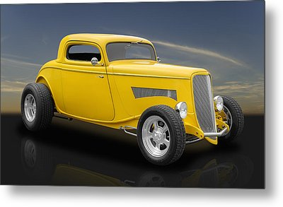 1933 Ford 3 Window Coupe In Bright Yellow Metal Print by Frank J Benz