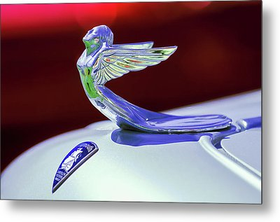 Metal Print featuring the photograph 1933 Plymouth Hood Ornament -0121rc by Jill Reger