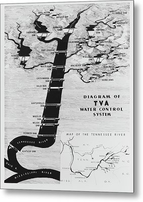 1933 Tennessee Valley Authority Map Metal Print by Daniel Hagerman