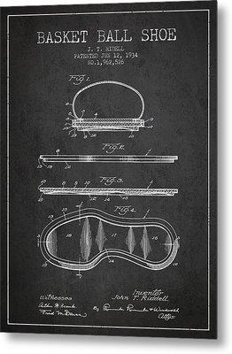 1934 Basket Ball Shoe Patent - Charcoal Metal Print