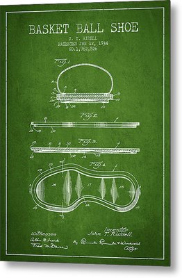 1934 Basket Ball Shoe Patent - Green Metal Print