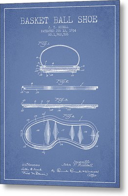1934 Basket Ball Shoe Patent - Light Blue Metal Print