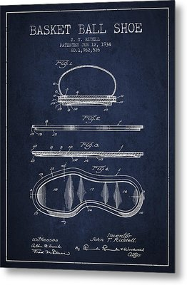 1934 Basket Ball Shoe Patent - Navy Blue Metal Print