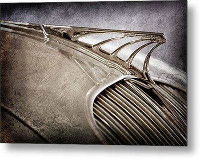 Metal Print featuring the photograph 1934 Desoto Airflow Coupe Hood Ornament -2404ac by Jill Reger