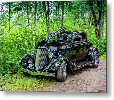 1934 Ford 3 Window Coupe Metal Print by Ken Morris