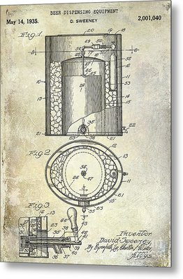 1935 Beer Equipment Patent  Metal Print by Jon Neidert