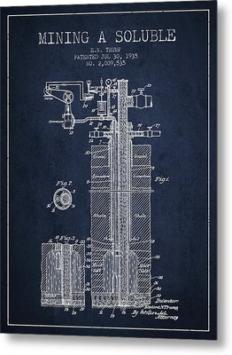 1935 Mining A Soluble Patent En39_nb Metal Print by Aged Pixel