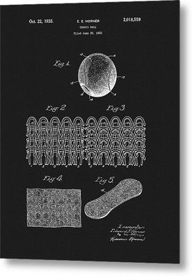 Metal Print featuring the mixed media 1935 Tennis Ball Patent by Dan Sproul