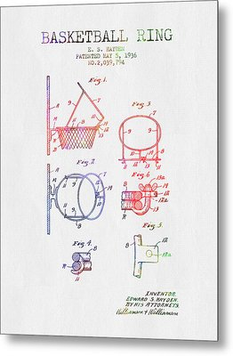 1936 Basketball Ring Patent - Color Metal Print