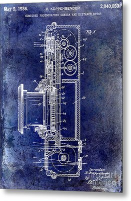 1936 Camera Patent Blue Metal Print by Jon Neidert