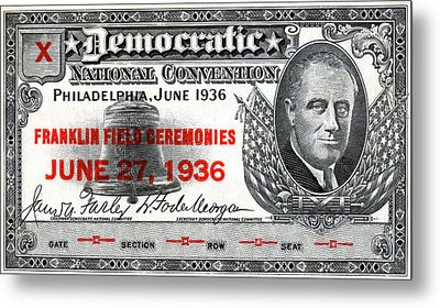1936 Democrat National Convention Ticket Metal Print by Historic Image