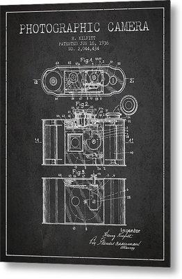 1936 Photographic Camera Patent - Charcoal Metal Print