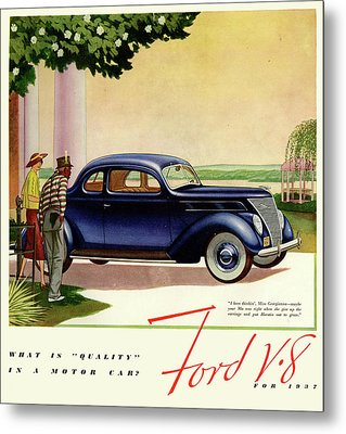 1937 Ford Car Ad Metal Print