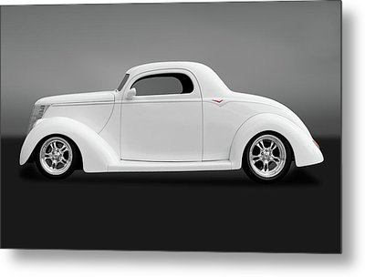 Metal Print featuring the photograph 1937 Ford Coupe  -  1937ford3windowcpegry172185 by Frank J Benz