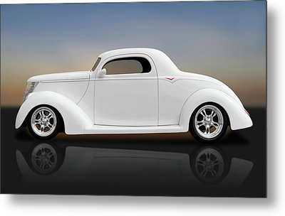 Metal Print featuring the photograph 1937 Ford Coupe  -  1937fordcoupereflect172185 by Frank J Benz