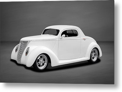 1937 Ford Coupe In Soft White Metal Print by Frank J Benz