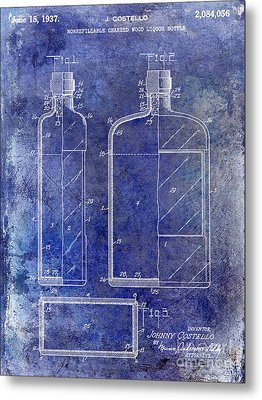 1937 Liquor Bottle Patent Blue Metal Print by Jon Neidert
