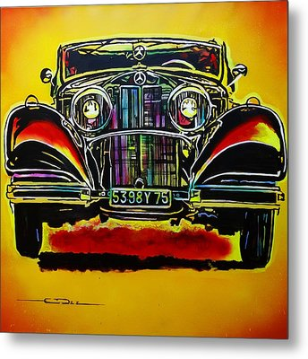 Metal Print featuring the painting 1937 Mercedes Benz First Wheel Down by Eric Dee