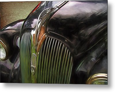 1937 Plymouth Hood Ornament Painterly Impressions Metal Print