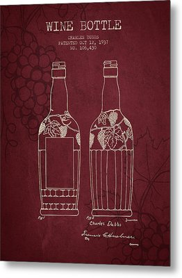 1937 Wine Bottle Patent - Red Wine Metal Print by Aged Pixel