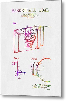 1938 Basketball Goal Patent - Color Metal Print