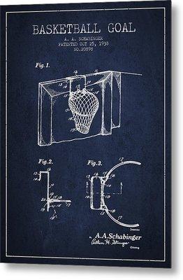 1938 Basketball Goal Patent - Navy Blue Metal Print
