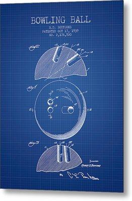 1939 Bowling Ball Patent - Blueprint Metal Print by Aged Pixel