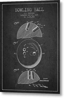 1939 Bowling Ball Patent - Charcoal Metal Print by Aged Pixel