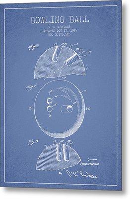 1939 Bowling Ball Patent - Light Blue Metal Print by Aged Pixel