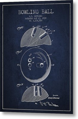 1939 Bowling Ball Patent - Navy Blue Metal Print by Aged Pixel