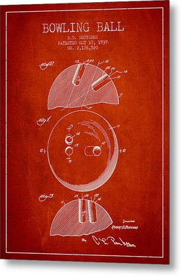 1939 Bowling Ball Patent - Red Metal Print by Aged Pixel